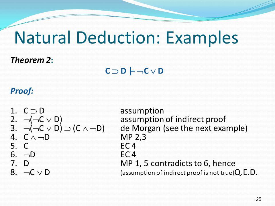 Natural Deduction: Examples Theorem 2: C  D |–  C  D Proof: 1. C  Dassumption 2.  (  C  D)assumption of indirect proof 3.  (  C  D)  (C  