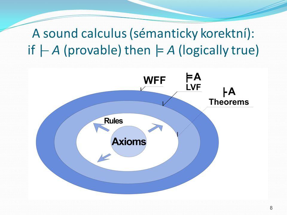 A sound calculus (sémanticky korektní): if |  A (provable) then |= A (logically true) 8