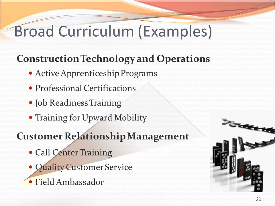 20 Broad Curriculum (Examples) Construction Technology and Operations Active Apprenticeship Programs Professional Certifications Job Readiness Training Training for Upward Mobility Customer Relationship Management Call Center Training Quality Customer Service Field Ambassador