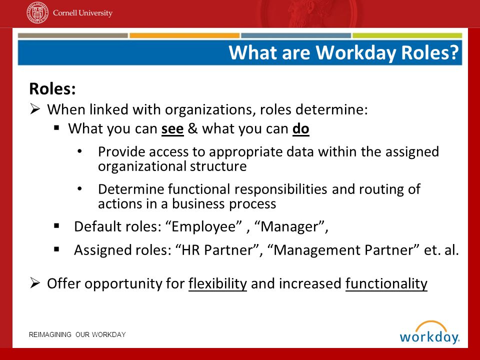 REIMAGINING OUR WORKDAY Role Assignment Facts Facts: Roles can be inherited or assigned (by supervisory organization); Assignments are designated at the position level Mgmt Partner Position XYZ Susan Stone Inherited Mgmt Partner Position XYZ Susan Stone Assigned Mgmt Partner Position ABC Diego Vasquez