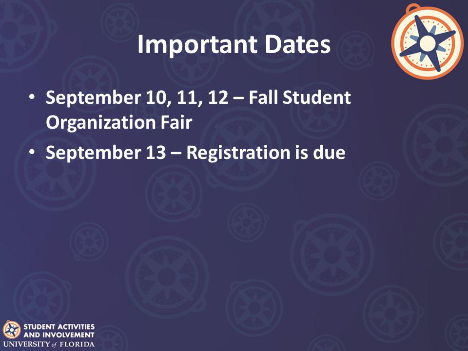 Important Dates September 10, 11, 12 – Fall Student Organization Fair September 13 – Registration is due