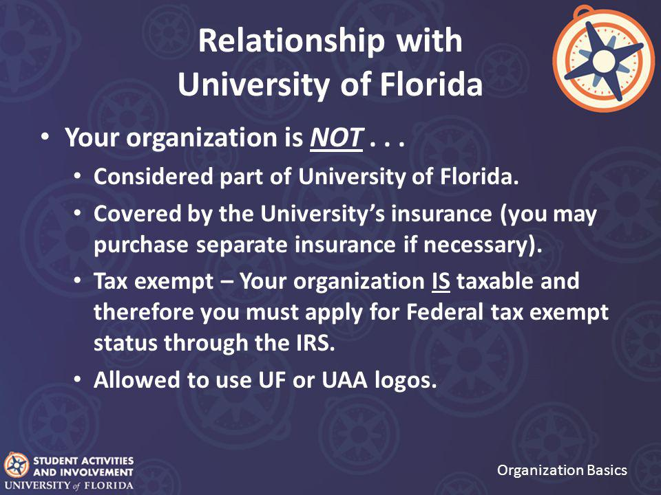 Relationship with University of Florida Your organization is NOT...