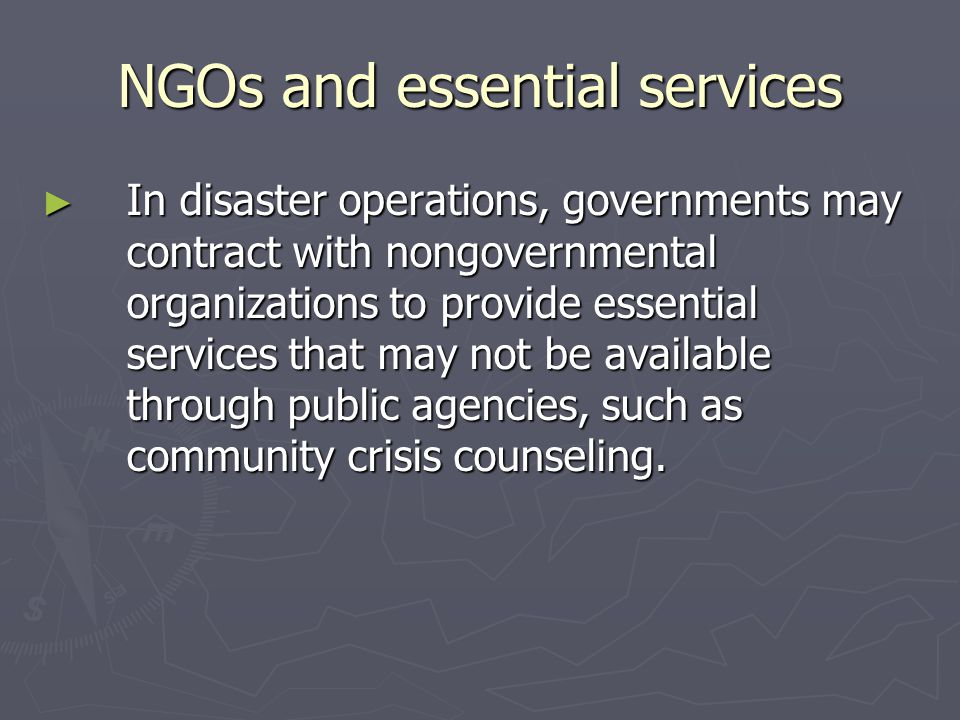 Creating NGOs to support public agencies ► Increasing numbers of public agencies are also creating nongovernmental foundations to build their constituencies and to provide services that cannot or cannot easily be provided directly by a public agency, for example the Public Health Foundation that supports the Centers for Disease Control and Prevention.