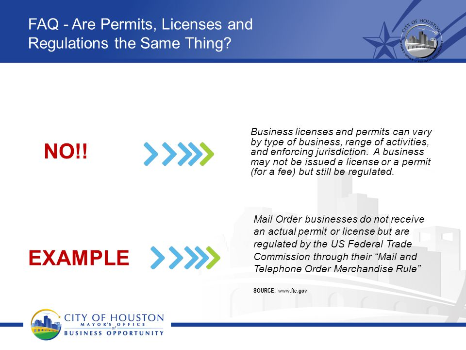 FAQ - Are Permits, Licenses and Regulations the Same Thing? Business licenses and permits can vary by type of business, range of activities, and enfor
