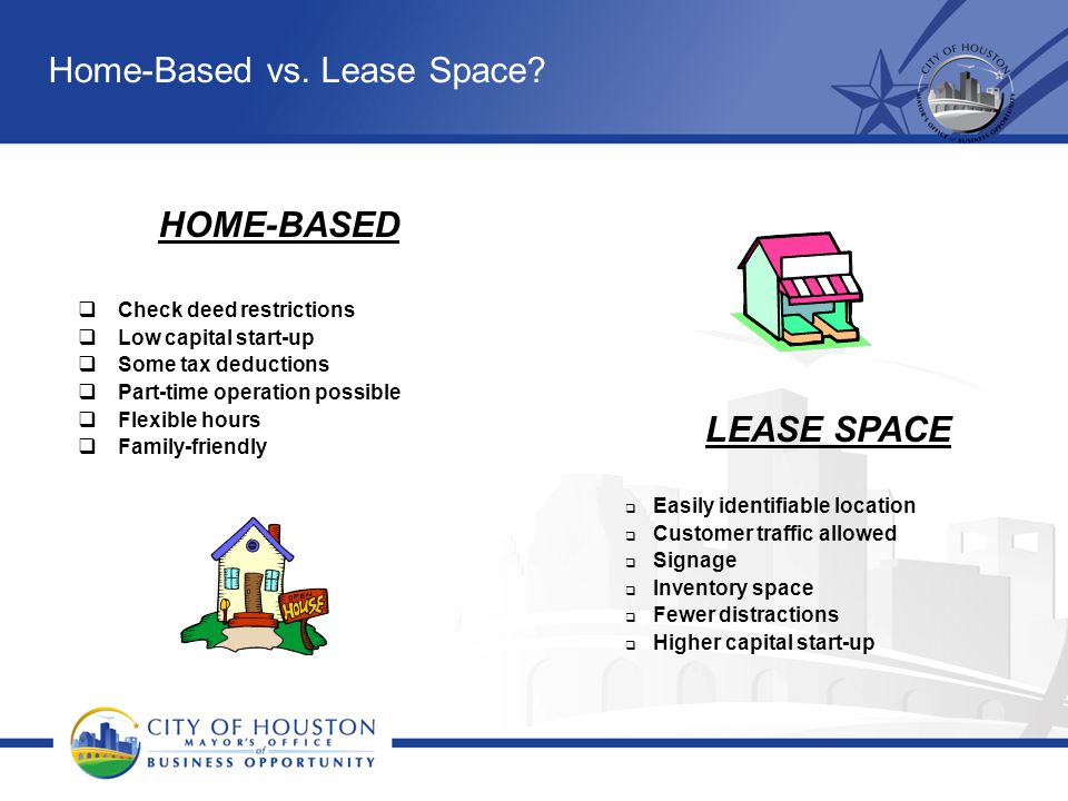 Home-Based vs. Lease Space? HOME-BASED  Check deed restrictions  Low capital start-up  Some tax deductions  Part-time operation possible  Flexibl