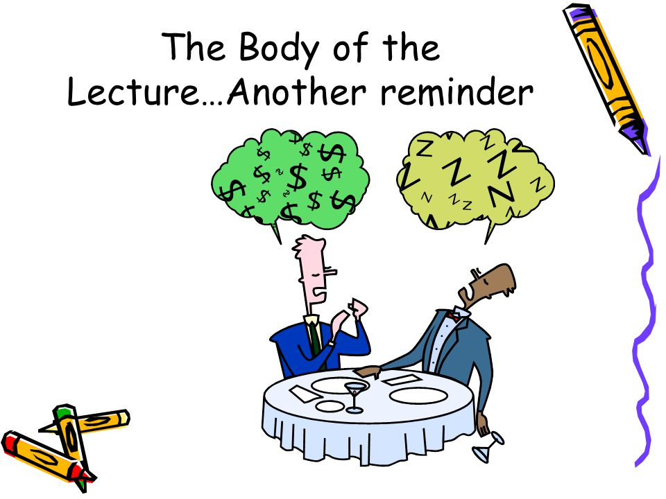 The Body of the Lecture…Another reminder