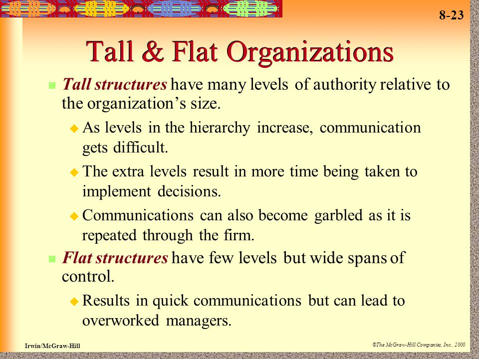 8-23 Irwin/McGraw-Hill ©The McGraw-Hill Companies, Inc., 2000 Tall & Flat Organizations Tall structures have many levels of authority relative to the