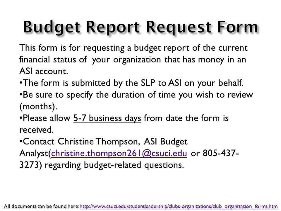 This form is for requesting a budget report of the current financial status of your organization that has money in an ASI account. The form is submitt