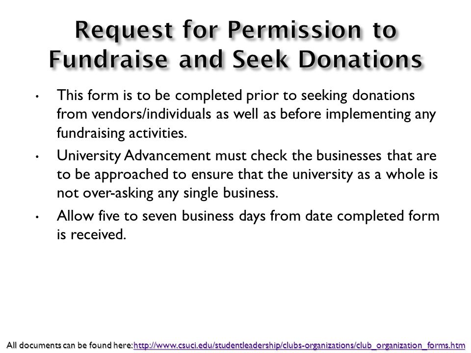 This form is to be completed prior to seeking donations from vendors/individuals as well as before implementing any fundraising activities.