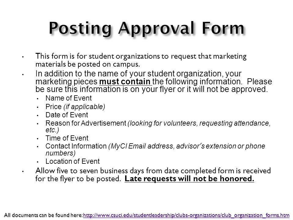 This form is for student organizations to request that marketing materials be posted on campus. In addition to the name of your student organization,