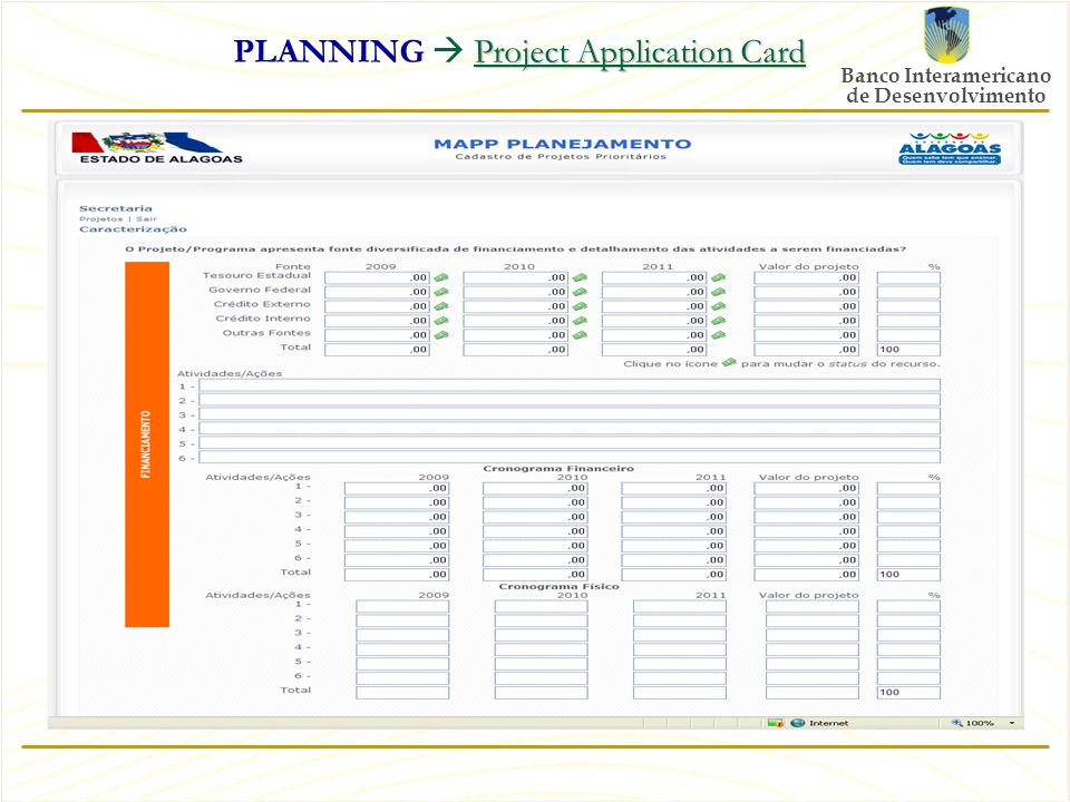 Banco Interamericano de Desenvolvimento Project Application Card PLANNING  Project Application Card