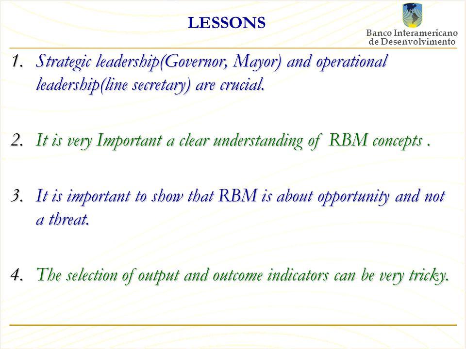 Banco Interamericano de Desenvolvimento LESSONS 1.Strategic leadership(Governor, Mayor) and operational leadership(line secretary) are crucial.