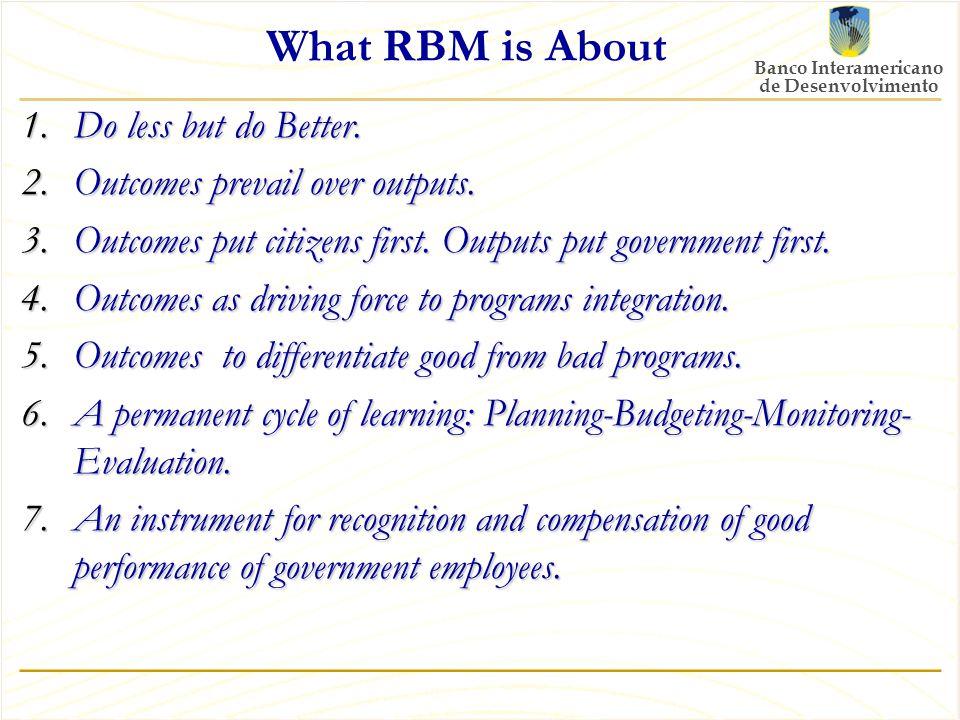 Banco Interamericano de Desenvolvimento What RBM is About 1.Do less but do Better.