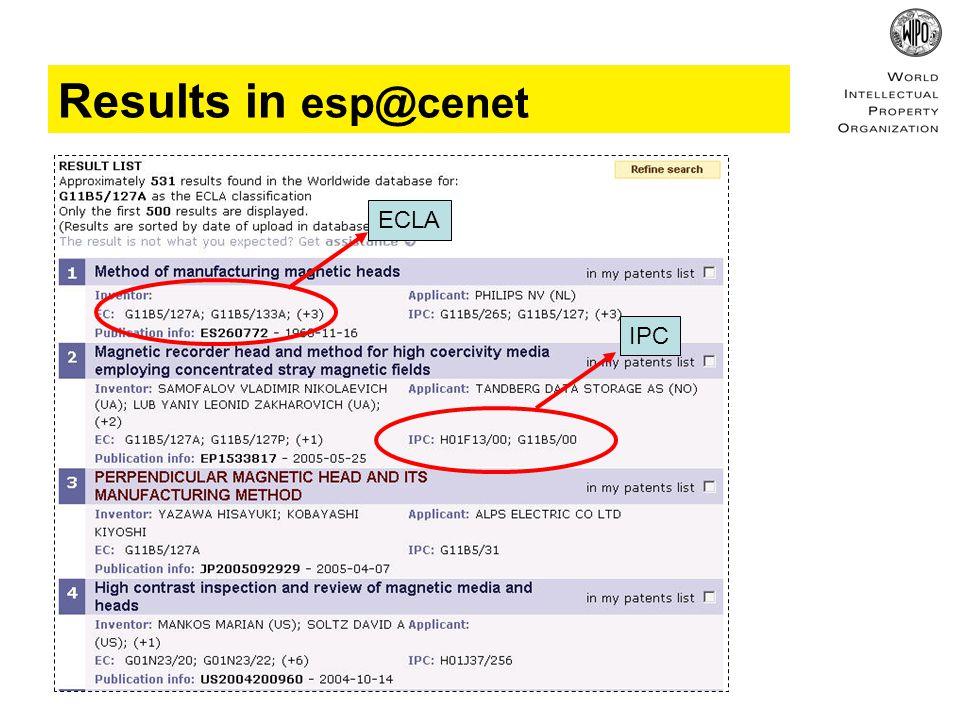 Results in esp@cenet IPC ECLA