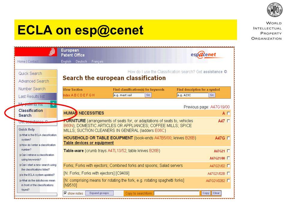 ECLA on esp@cenet