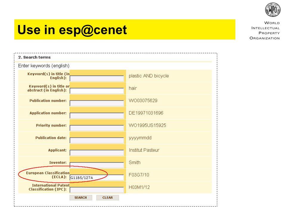 Use in esp@cenet