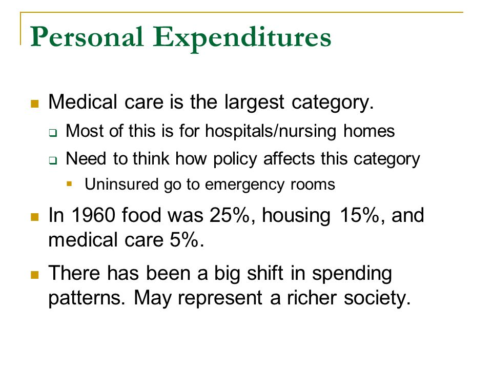 Personal Expenditures Medical care is the largest category.