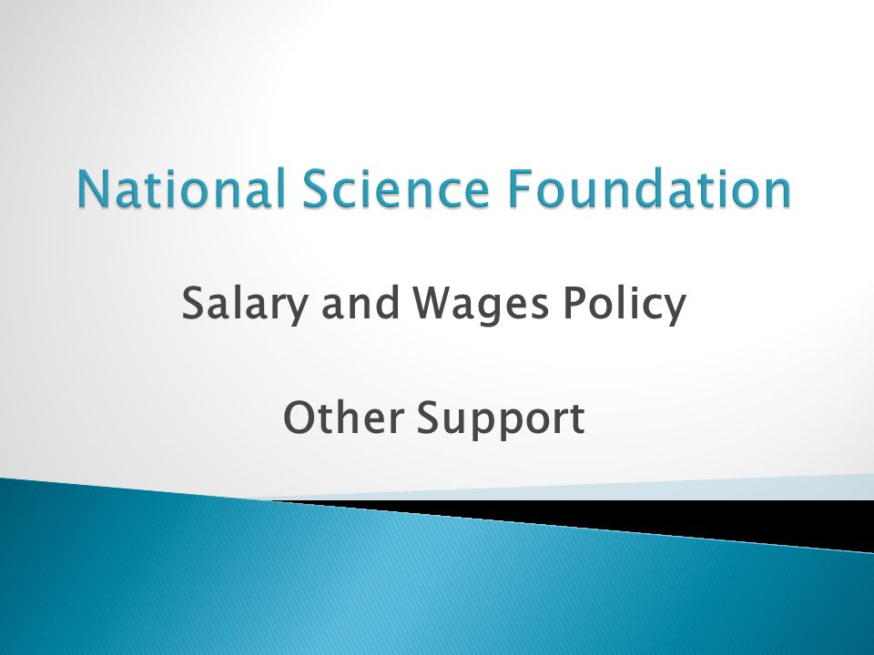 Salary and Wages Policy Other Support