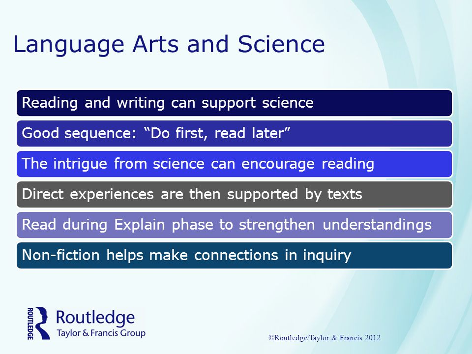 Language Arts and Science Reading and writing can support scienceGood sequence: Do first, read later The intrigue from science can encourage reading Direct experiences are then supported by texts Read during Explain phase to strengthen understandings Non-fiction helps make connections in inquiry ©Routledge/Taylor & Francis 2012