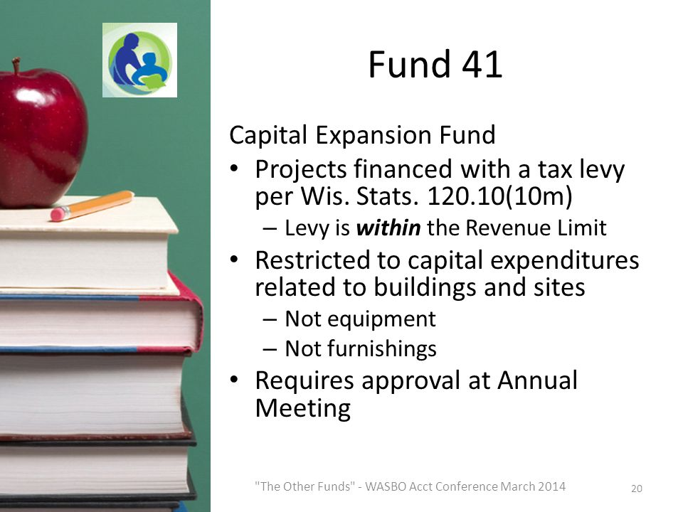 Fund 41 Capital Expansion Fund Projects financed with a tax levy per Wis.