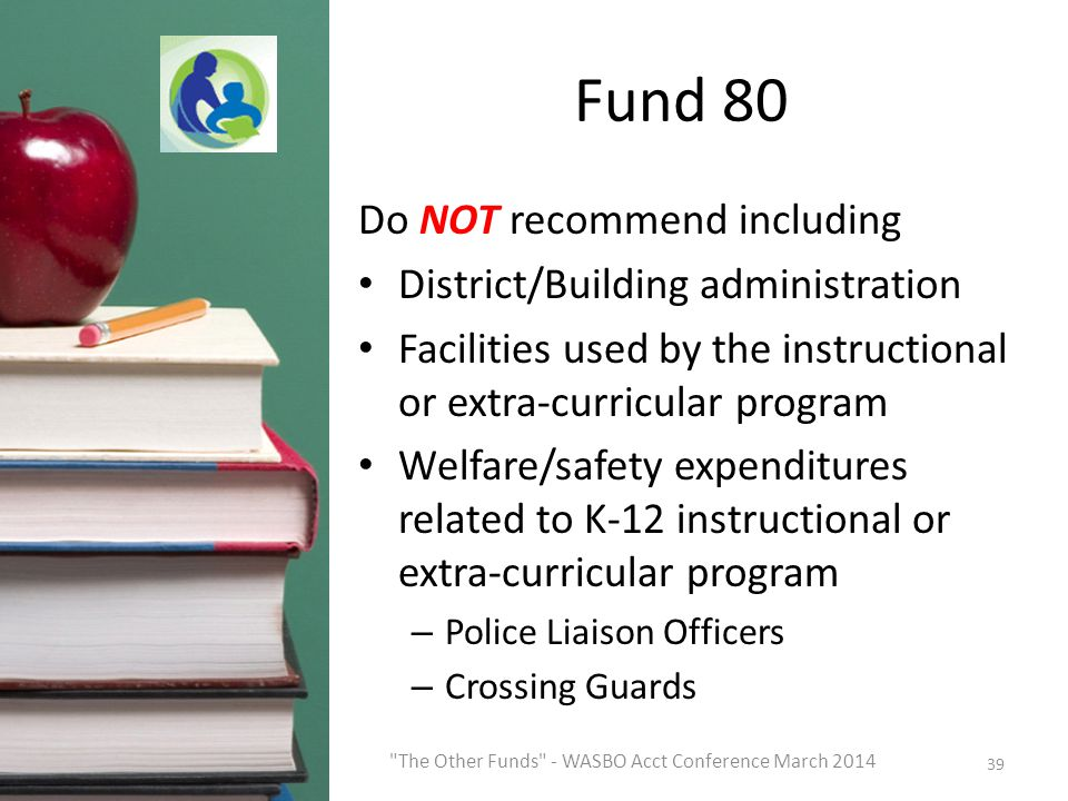 Fund 80 Do NOT recommend including District/Building administration Facilities used by the instructional or extra-curricular program Welfare/safety expenditures related to K-12 instructional or extra-curricular program – Police Liaison Officers – Crossing Guards 39 The Other Funds - WASBO Acct Conference March 2014