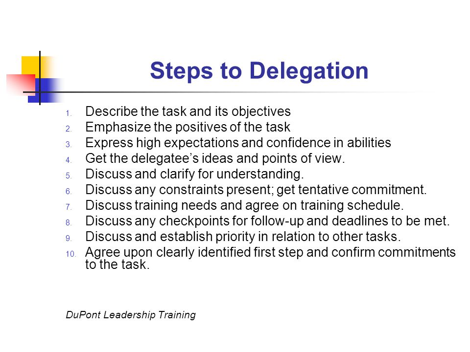Steps to Delegation 1. Describe the task and its objectives 2.