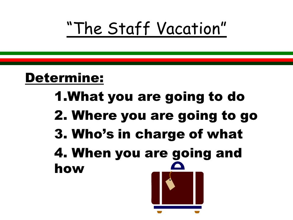 The Staff Vacation Determine: 1.What you are going to do 2.