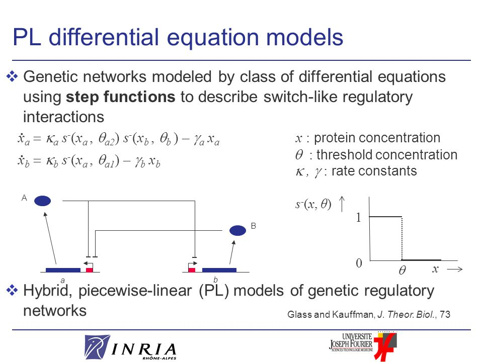 PL differential equation models vGenetic networks modeled by class of differential equations using step functions to describe switch-like regulatory interactions x a   a s - (x a,  a2 ) s - (x b,  b ) –  a x a.