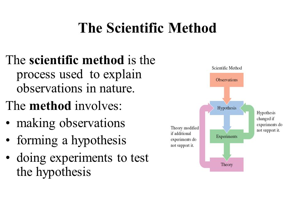 The Scientific Method The scientific method is the process used to explain observations in nature. The method involves: making observations forming a