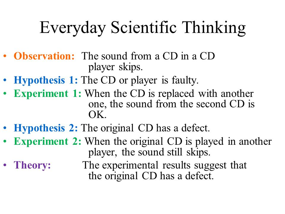 Everyday Scientific Thinking Observation: The sound from a CD in a CD player skips. Hypothesis 1: The CD or player is faulty. Experiment 1: When the C