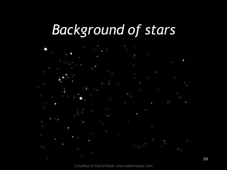 10 Background of stars Courtesy of David Nash, www.astronexus.com