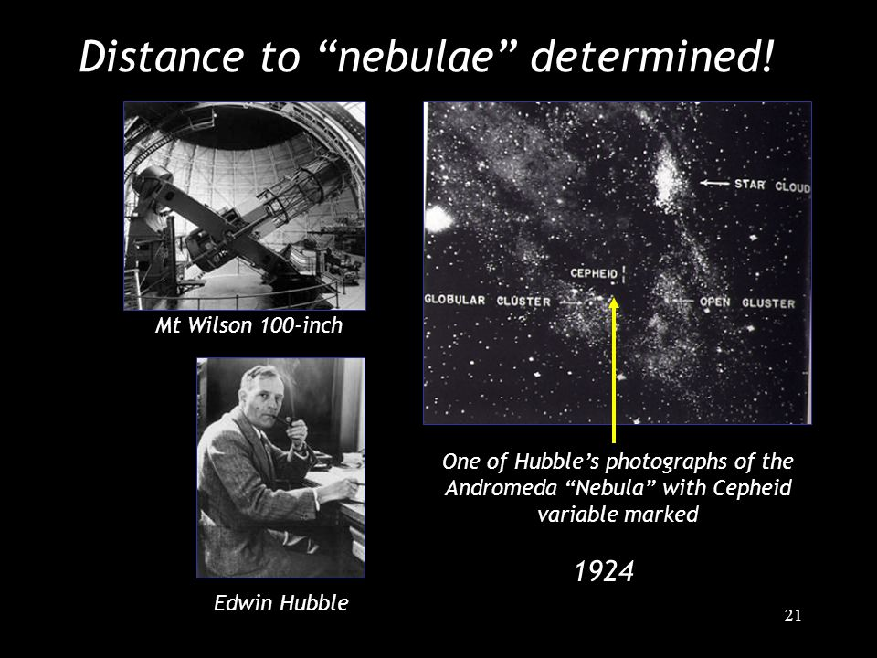"21 Distance to ""nebulae"" determined! Edwin Hubble Mt Wilson 100-inch One of Hubble's photographs of the Andromeda ""Nebula"" with Cepheid variable marke"