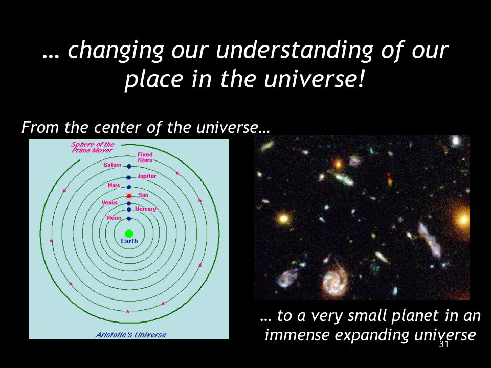 31 … changing our understanding of our place in the universe! From the center of the universe… … to a very small planet in an immense expanding univer