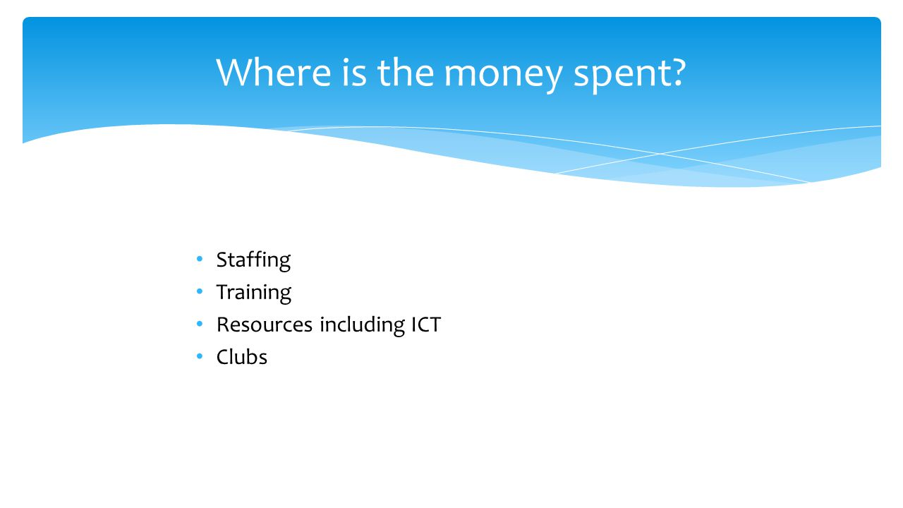 Where is the money spent? Staffing Training Resources including ICT Clubs