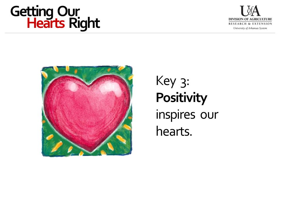 Key 3: Positivity inspires our hearts. Getting Our Hearts Right