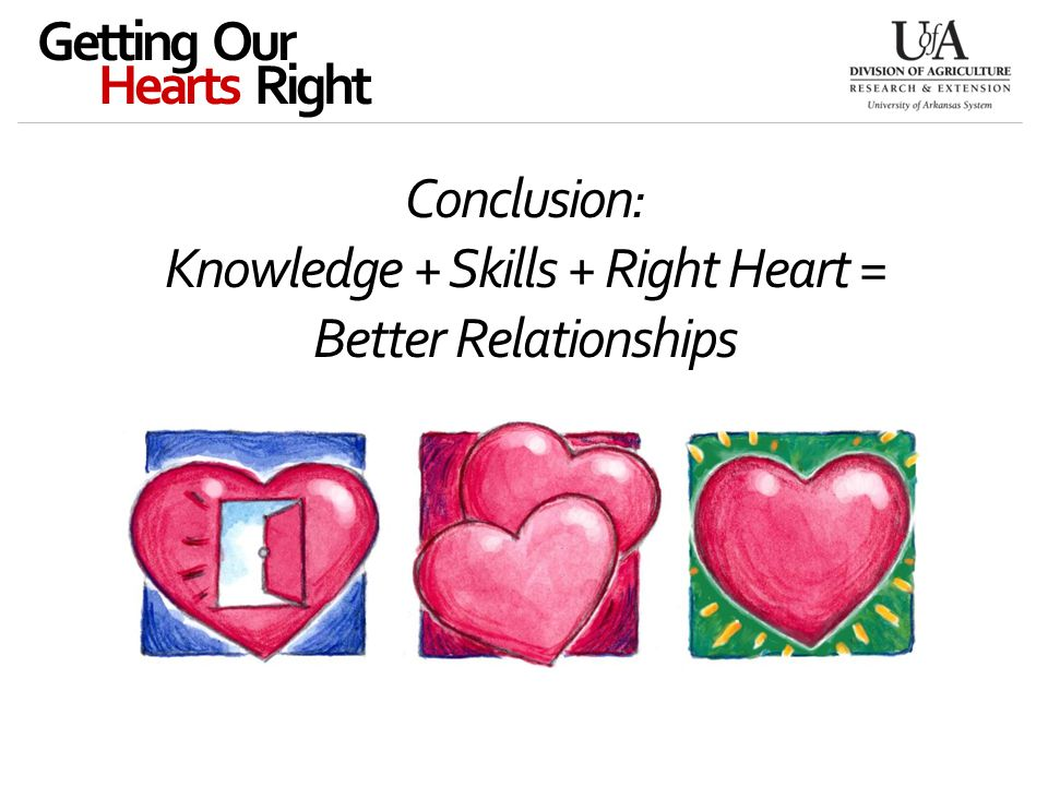 Conclusion: Knowledge + Skills + Right Heart = Better Relationships Getting Our Hearts Right