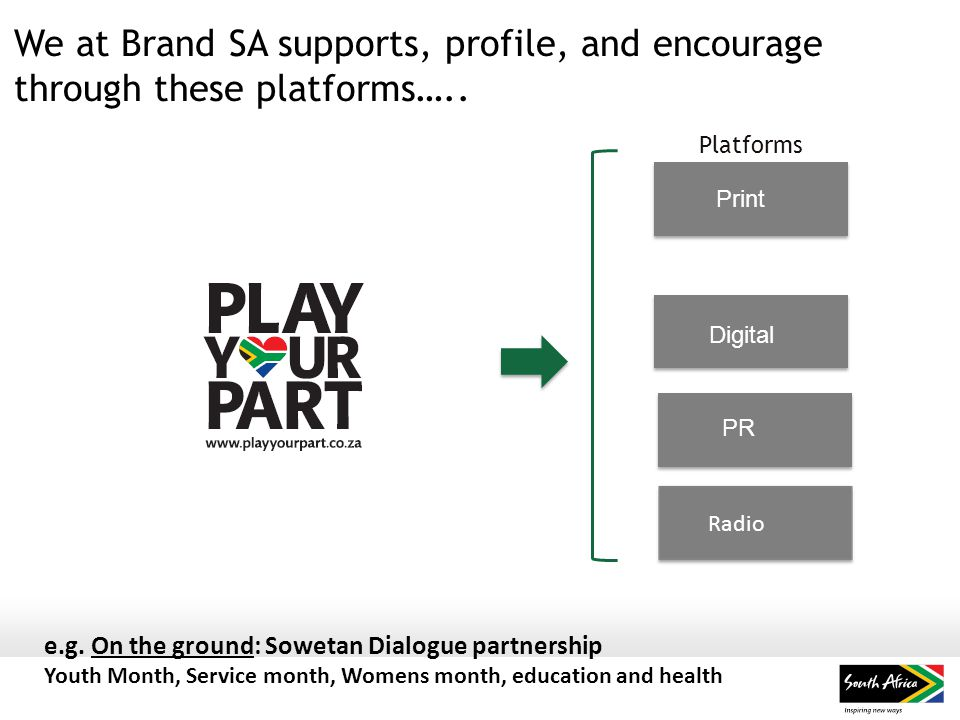 We at Brand SA supports, profile, and encourage through these platforms…..