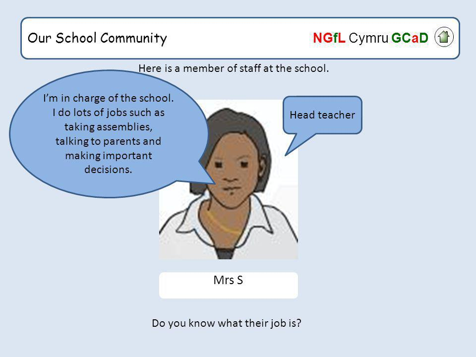 Our School Community NGfL Cymru GCaD What would happen if the cleaner could only clean the classroom once a month.