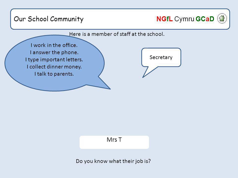 Our School Community NGfL Cymru GCaD What would happen if the secretary was ill.