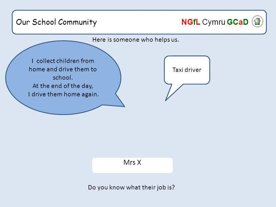 Our School Community NGfL Cymru GCaD Here is someone who helps us.