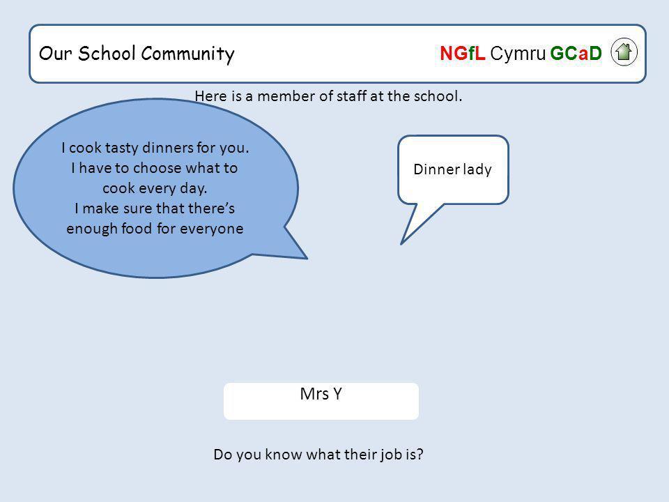 Our School Community NGfL Cymru GCaD Here is someone who helps us.
