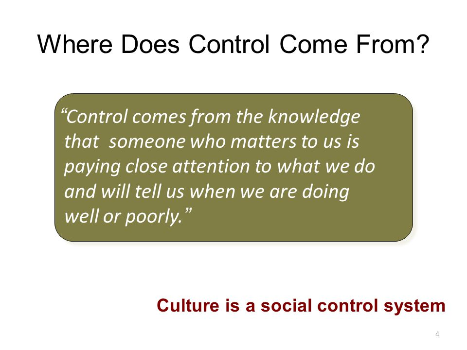 Where Does Control Come From.