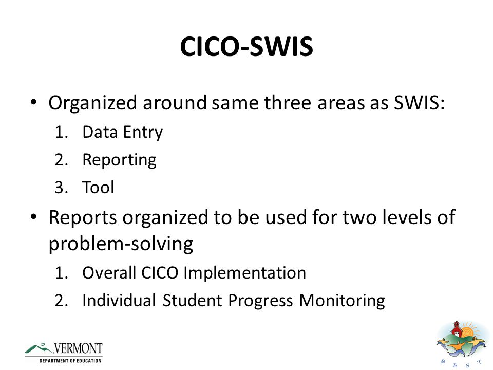 CICO-SWIS – View Reports www.swis.org
