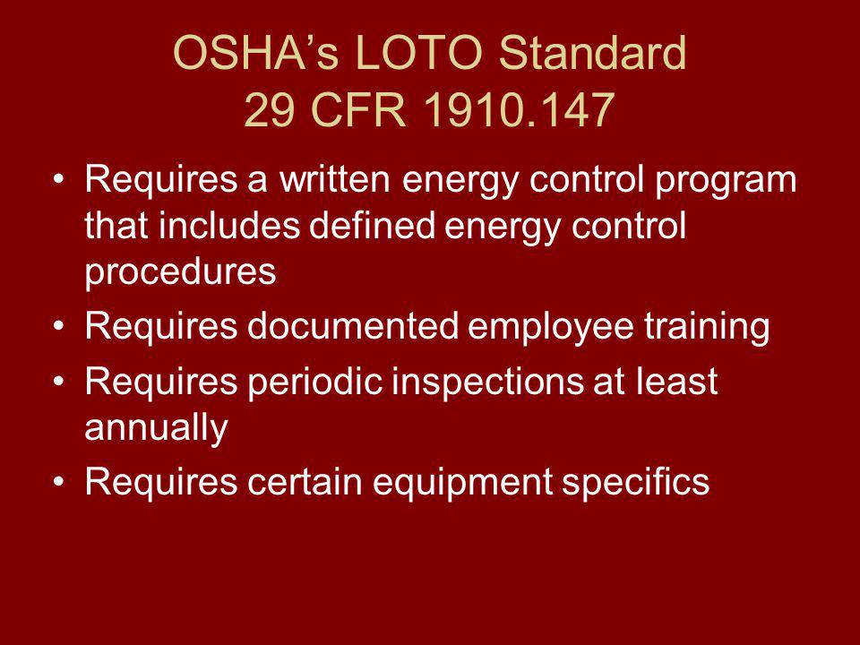 BGSU's LOTO Program Re-Training Change in authorized employee's job assignments or job area that contains sources of hazardous energy; Change in machines, equipment or process that presents a new hazard; Change in energy control procedures; Need for refresher training found during periodic inspections; and/or Employer believes there are deviations from, or inadequacies in, the employee's knowledge or use of LOTO procedures.