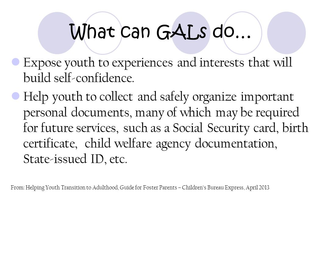 What can GALs do… Expose youth to experiences and interests that will build self-confidence. Help youth to collect and safely organize important perso