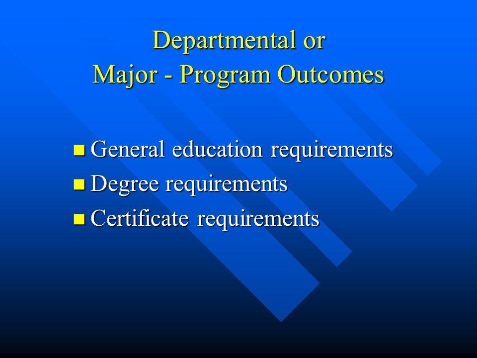 Departmental or Major - Program Outcomes General education requirements General education requirements Degree requirements Degree requirements Certifi