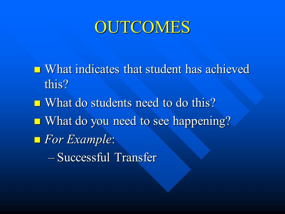 OUTCOMES n What indicates that student has achieved this? n What do students need to do this? n What do you need to see happening? n For Example: –Suc