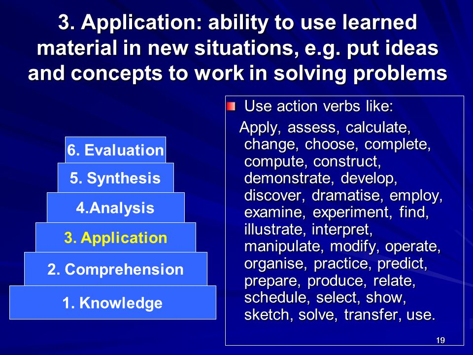 1919 3. Application: ability to use learned material in new situations, e.g. put ideas and concepts to work in solving problems Use action verbs like: