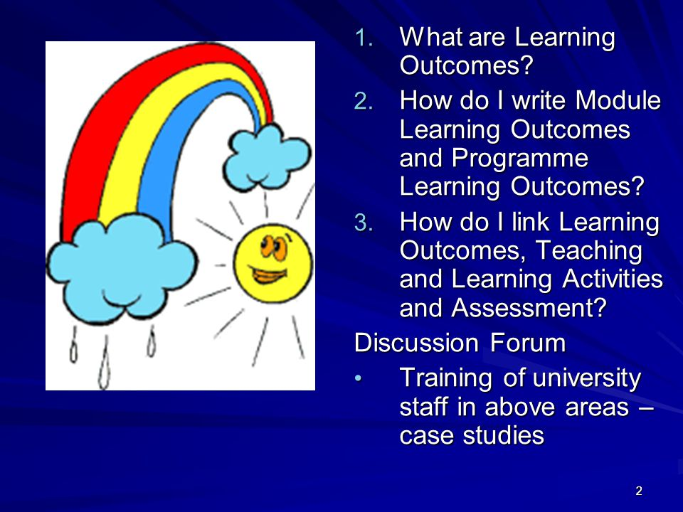 22 1. What are Learning Outcomes? 2. How do I write Module Learning Outcomes and Programme Learning Outcomes? 3. How do I link Learning Outcomes, Teac