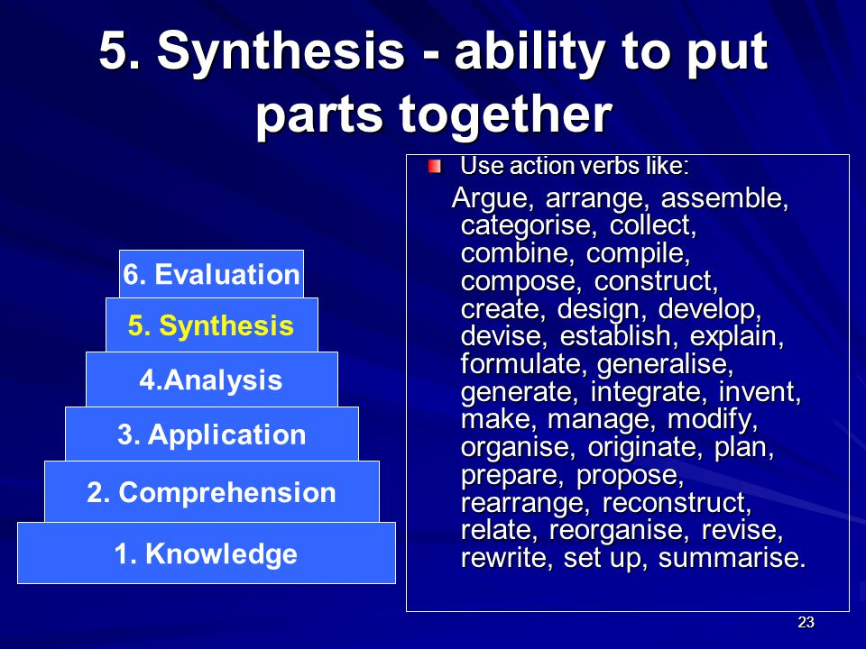 2323 5. Synthesis - ability to put parts together Use action verbs like: Argue, arrange, assemble, categorise, collect, combine, compile, compose, con